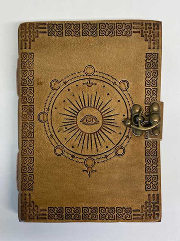 Moon Phase Leather Journal With Latch