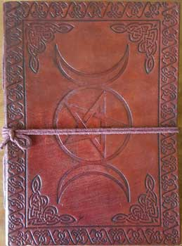 Triple Moon Pentagram Leather Journal With Cord