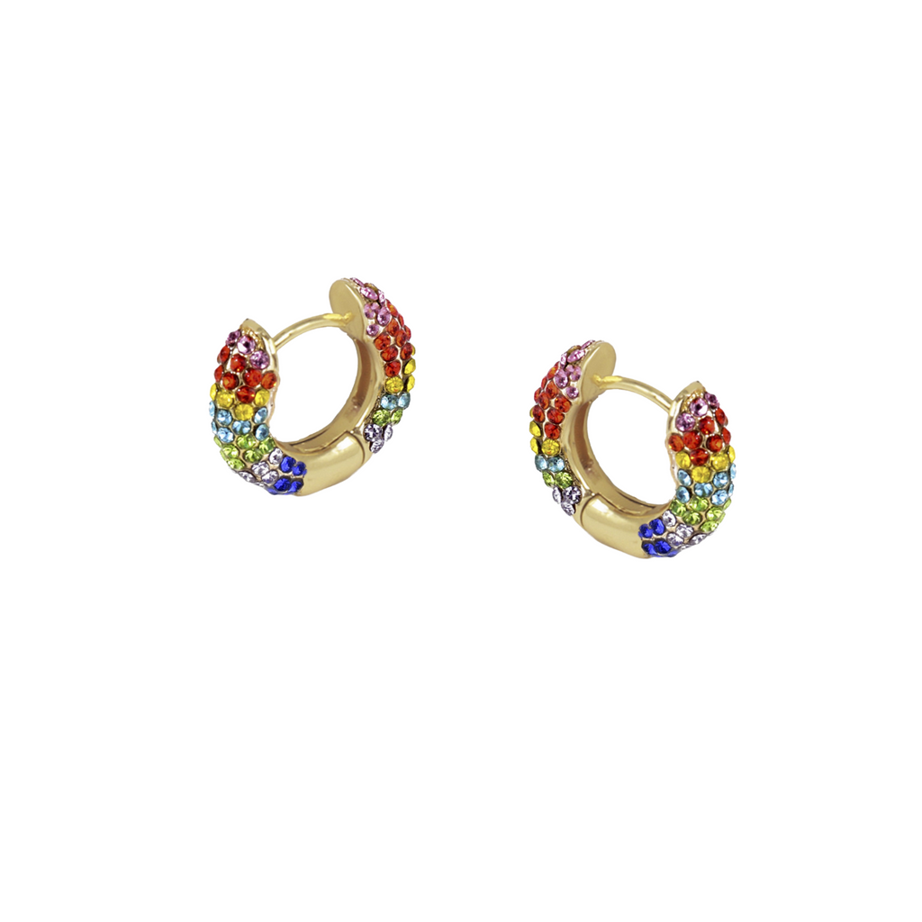 Rainbow diamond mini hoops
