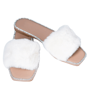 Princess Fur Slides ivory