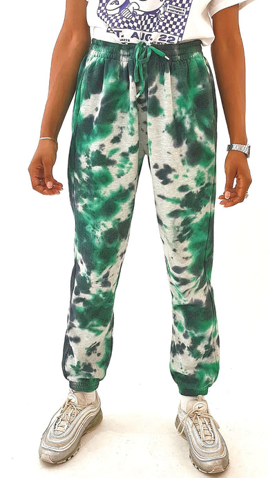 Tie Dye Joggers Green and Grey