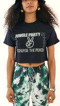 Load image into Gallery viewer, Jungle Party Glow In The Dark Short Sleeve Cropped Tee Black