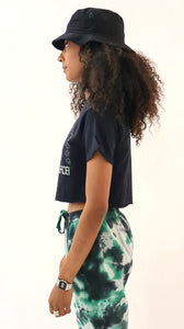 Jungle Party Glow In The Dark Short Sleeve Cropped Tee Black