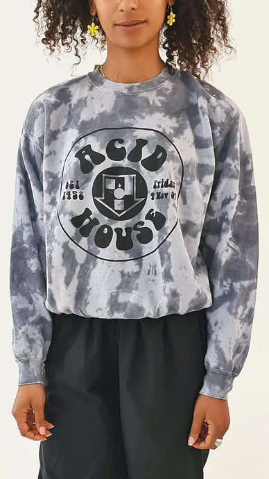 Acid House Tie Dye Sweater Grey Black