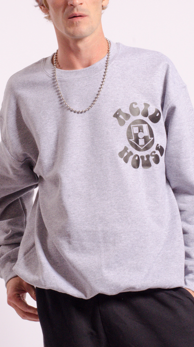 Acid House Screen Printed Sweat Grey