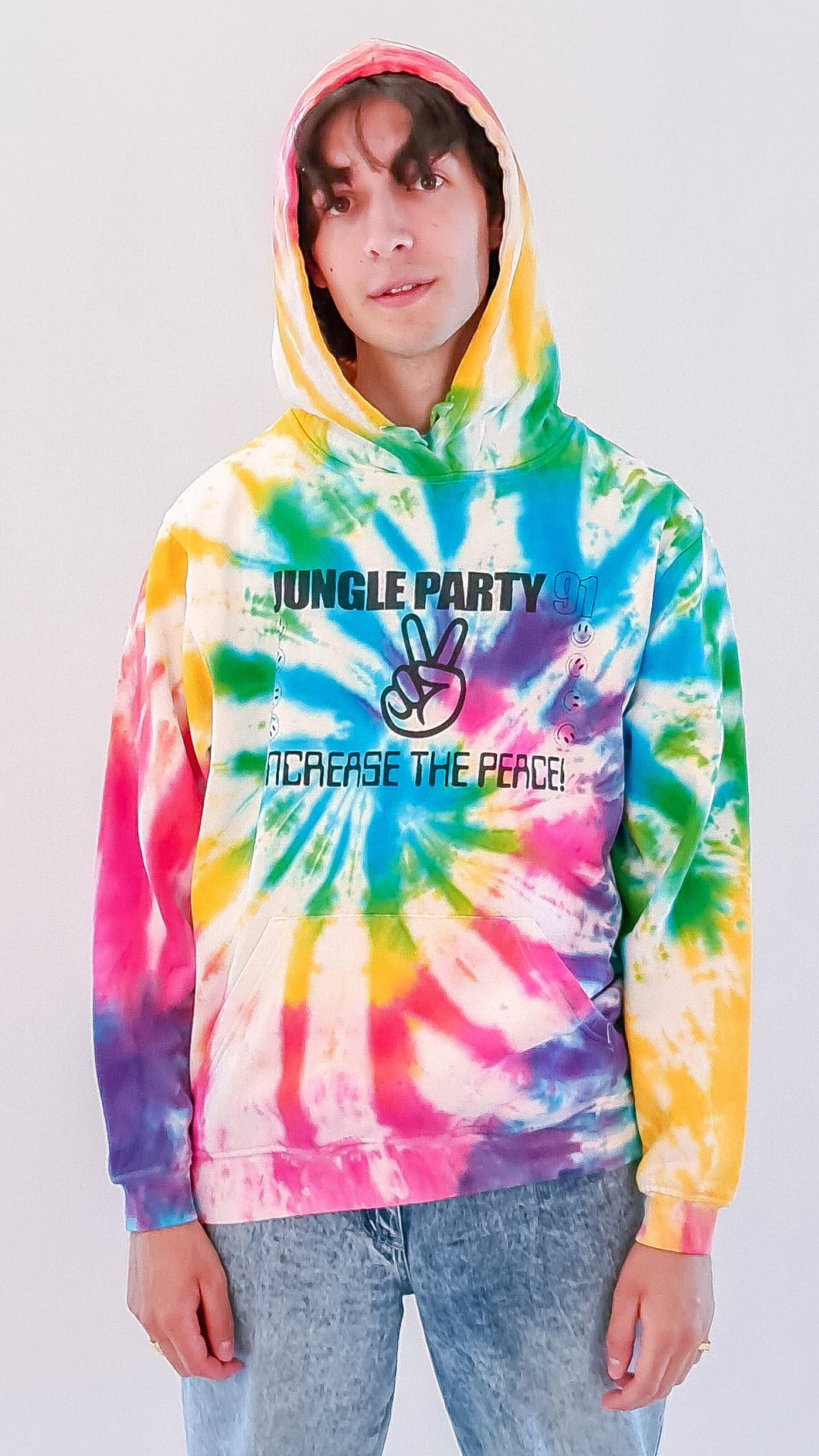 Jungle Party - Rainbow Spiral Tie Dye Hoody