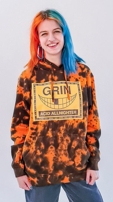 Grin Tie Dye Hoody Orange Black