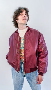 Planet Rave MA-1 Bomber Jacket Maroon