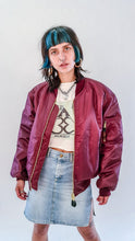 Load image into Gallery viewer, Planet Rave MA-1 Bomber Jacket Maroon