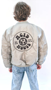 Acid House MA-1 Bomber Jacket Silver