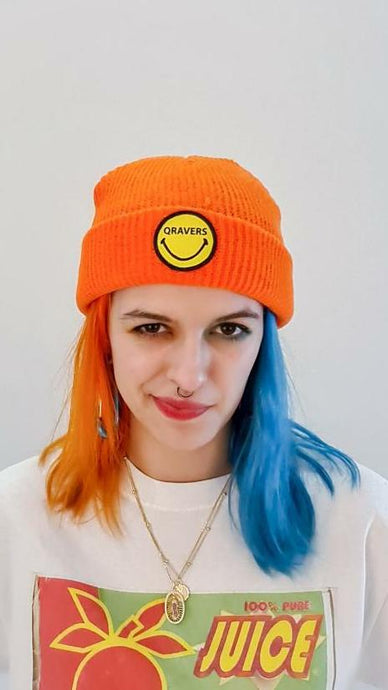 Qravers smiley face patch beanie hat in orange