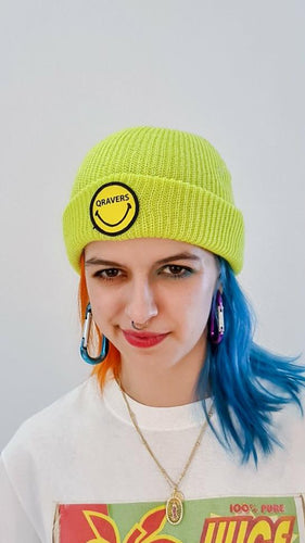 Qravers smiley face patch beanie hat in neon green