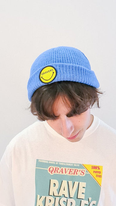 Qravers smiley face patch beanie hat in blue