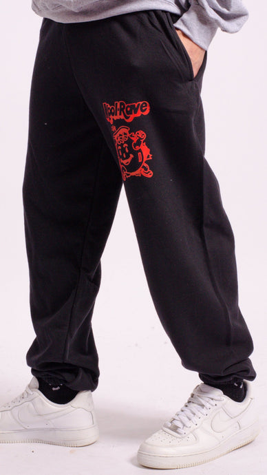 Kool-Rave Screen Printed Joggers Black