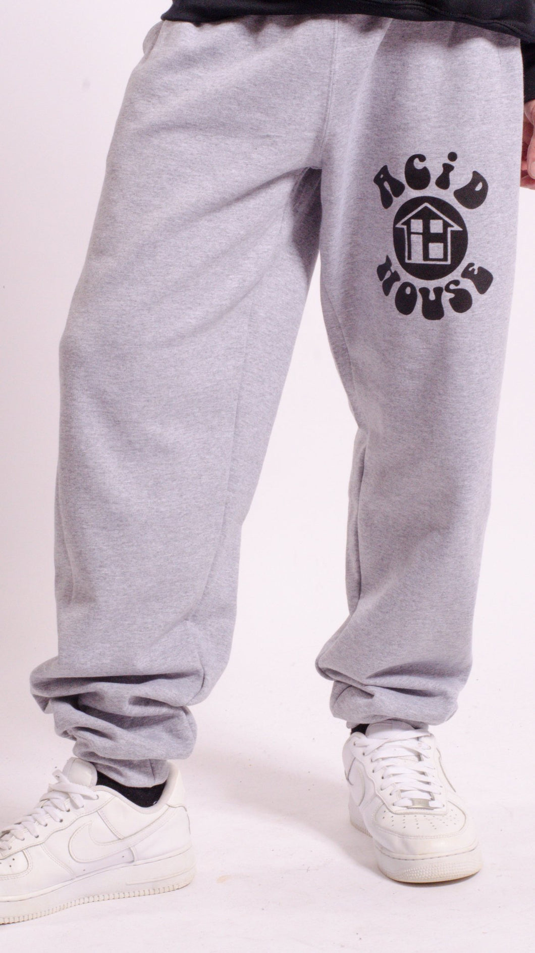 Acid House Screen Printed Joggers Grey
