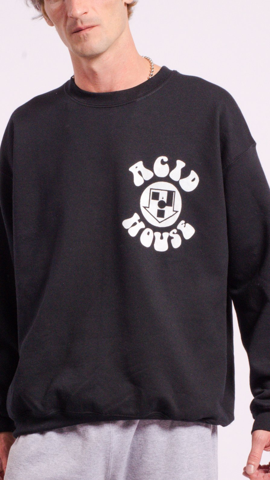 Acid House Screen Printed Sweat Black
