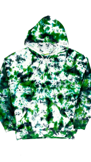 Plain Tie Dye Hoody Green and Black