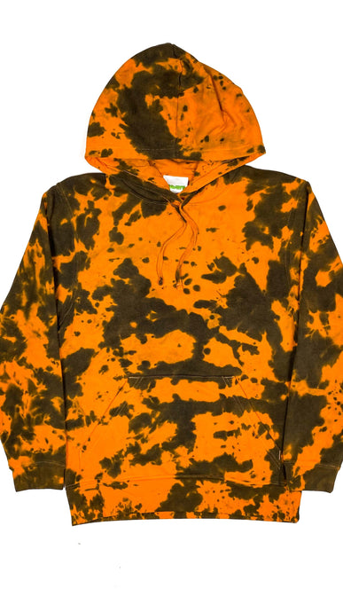 Plain Tie Dye Hoody Orange Black