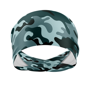 Camo in Blue-Wicking Workout Headband