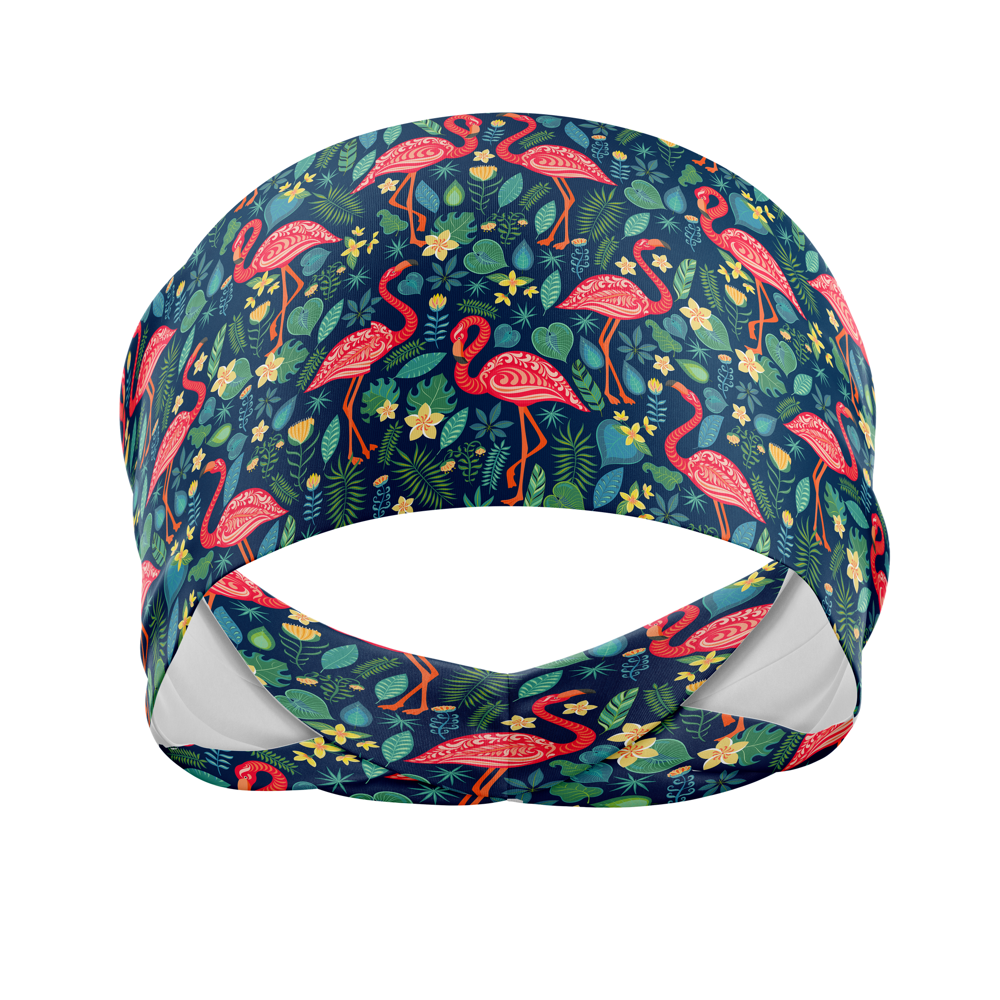Flamingo Fun Navy-Wicking Workout Headband