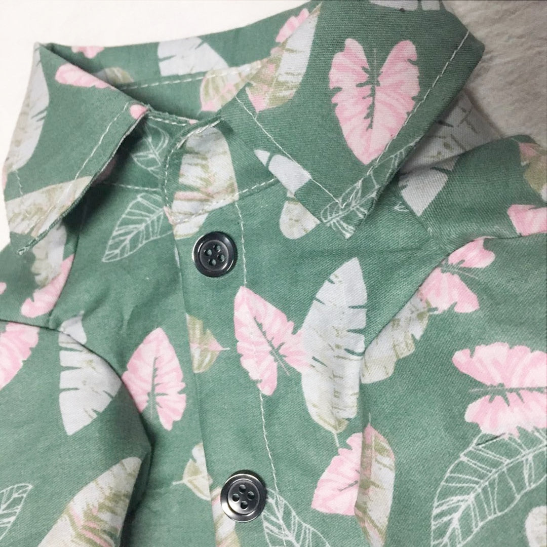 Leaf Pattern Hawaii Style Soft Comfortable Shirt - Frenchie N Pug