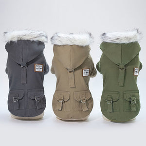 Hooded Earth Tone Wind Jacket - Frenchie N Pug