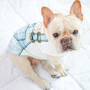 Cartoon Printing Cotton Striped Vest - Frenchie N Pug