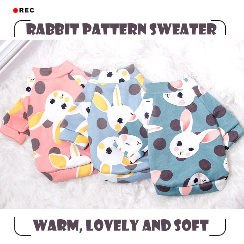 Adorable Rabbit Pattern Sweater - Frenchie N Pug