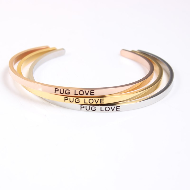 PUG LOVE Stainless Steel Engraved Cuff Bracelets - Frenchie N Pug