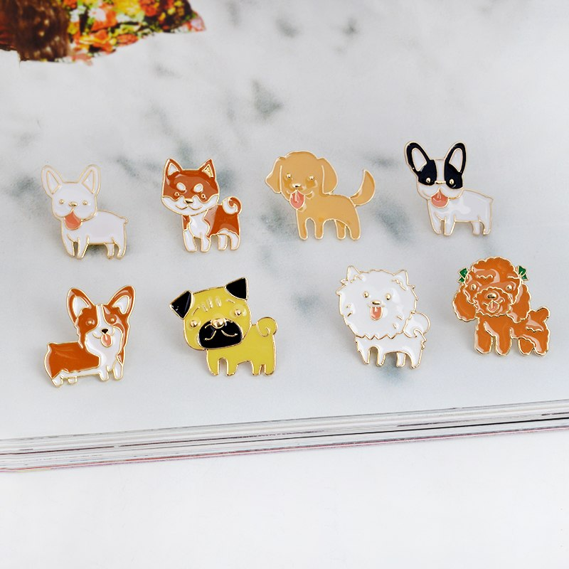 8pcs/set Puppy Dog Button Pins Badge - Frenchie N Pug