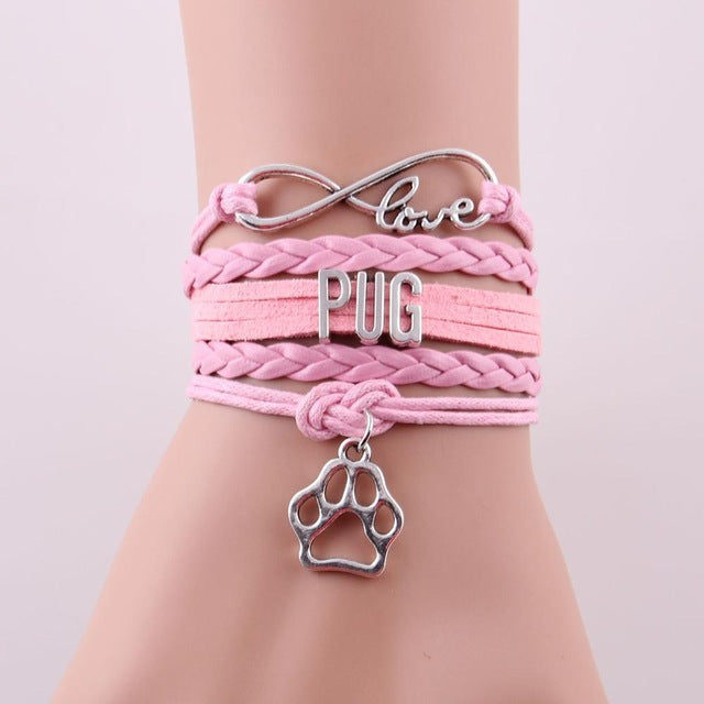 Infinity love PUG leather bracelet - Frenchie N Pug