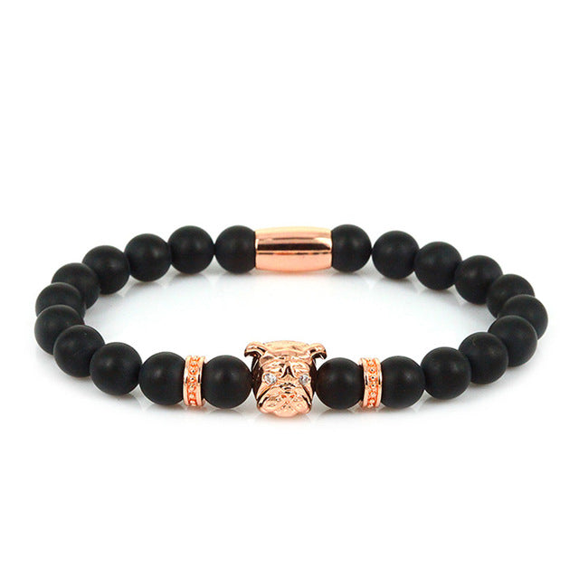 PUG LOVE Rose Gold Black Matte Adjustable Bracelet - Frenchie N Pug
