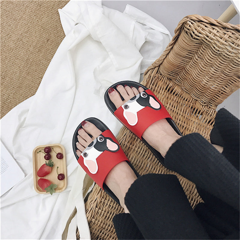RASMEUP Leather Women's Slippers 2018 Summer Women Open Toe Beach Slippers Bulldog Seaside Shoes Indoor Home Casual Woman Slides - Frenchie N Pug
