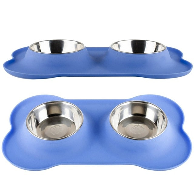 Steel Dog Bowl With No Spill Non-Skid Silicone - Frenchie N Pug