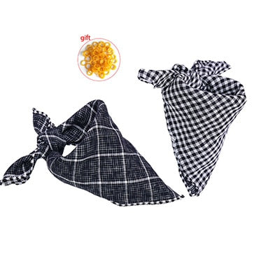 Reversible Dog Bandana Cotton linen Plaid Pet Bandana Scarf  Bow ties Collar Square Cat Samll middle large dog Grooming Products - Frenchie N Pug
