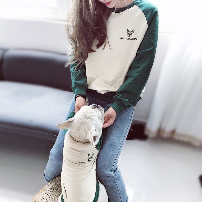High Quality Green and Cream Matching Dog and Owner Jumper - Frenchie N Pug