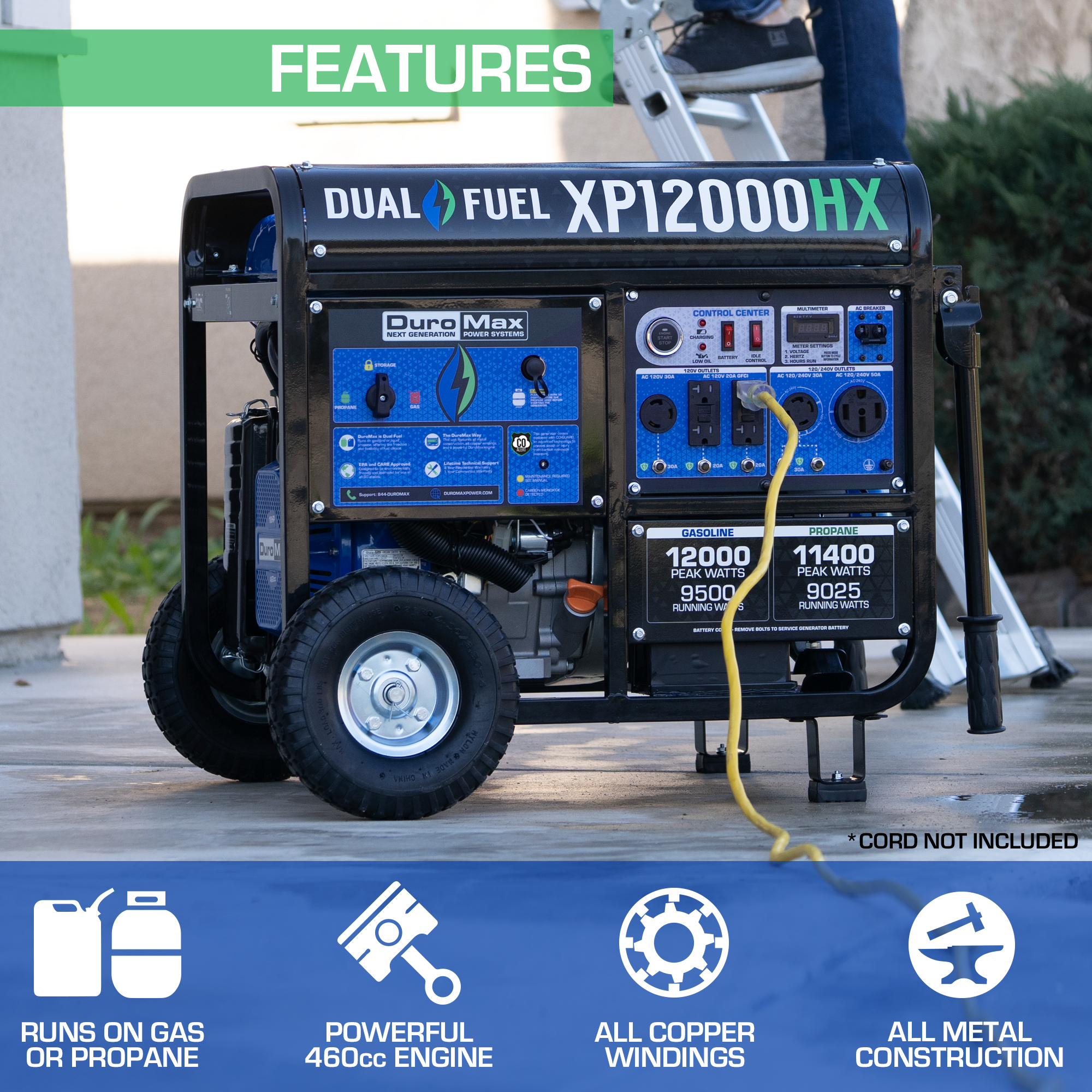 DuroMax XP12000HX 12,000-Watt 18 HP Dual Fuel Gas Propane Portable Generator with CO Alert