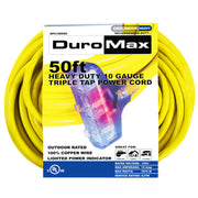 DuroMax XPC10050C 50-Foot 10 Gauge Triple Tap Extension Power Cord