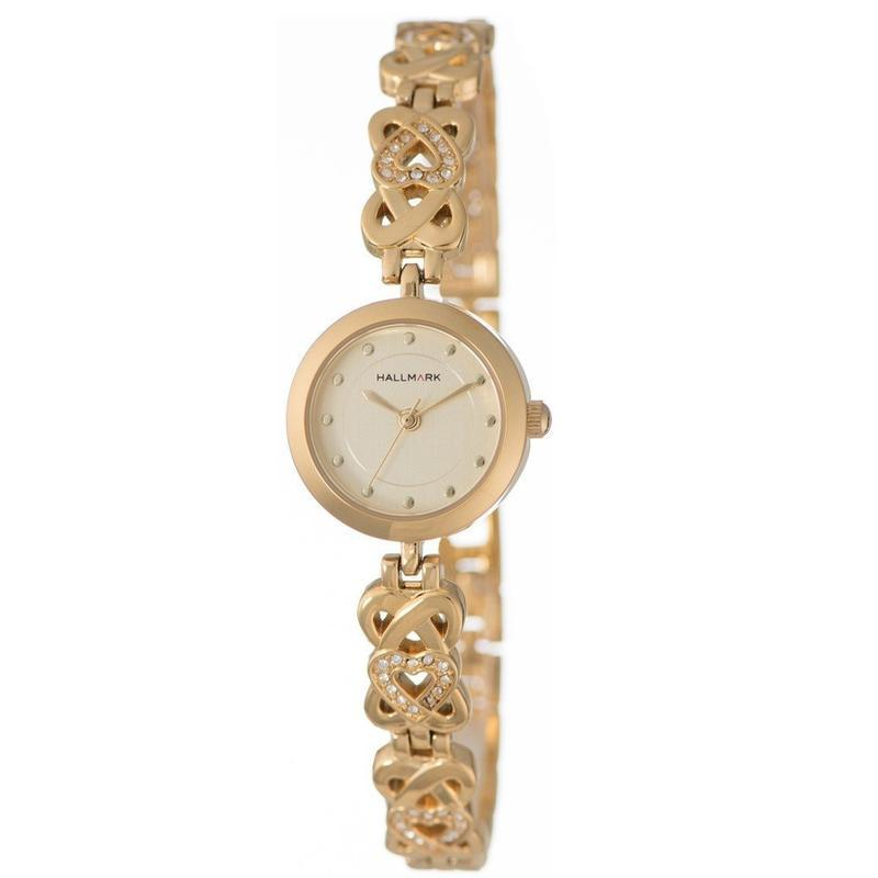 Hallmark Ladies Specials Gold Bangle Stone Detail Champagne Dial Watch