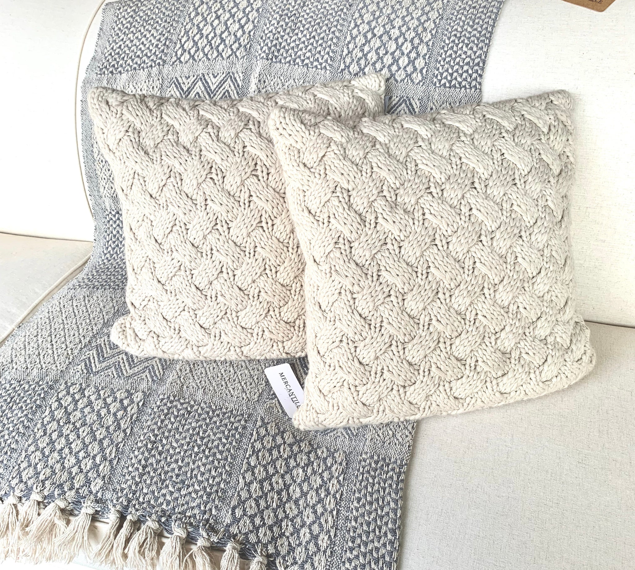 "16"" Basket Woven Pillow Set"