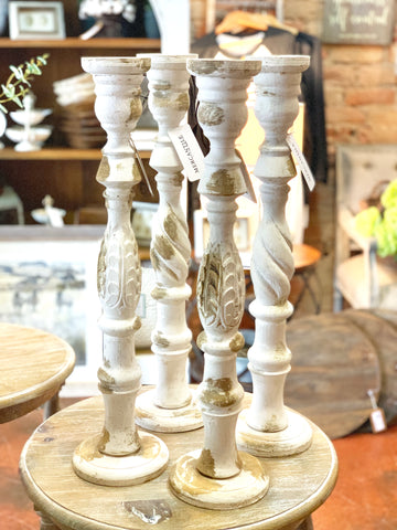 Distressed Wooden Candle Stick