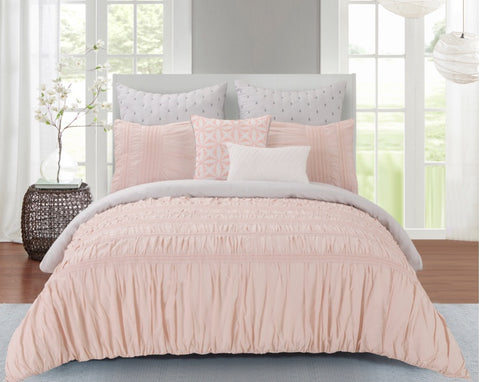 Pale pink Ruched 7pc Comforter Set
