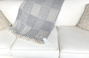 Blue/Grey Woven Throw Blanket