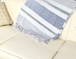 Multi colored striped throw