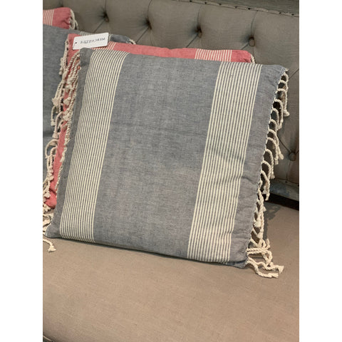 "18"" Cotton Pillow with Stripes"