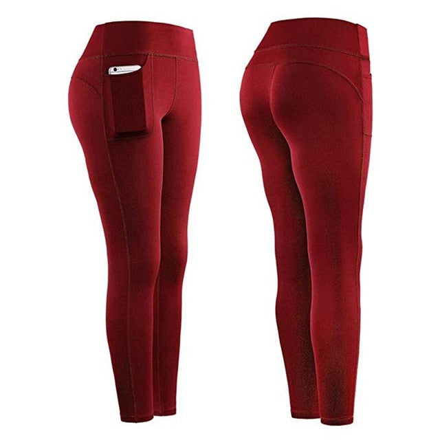Leggings Sport Women Fitness High Waist Stretch Athletic Gym Casual Leggings Running Sports Pockets Active Pants For Cell Phone
