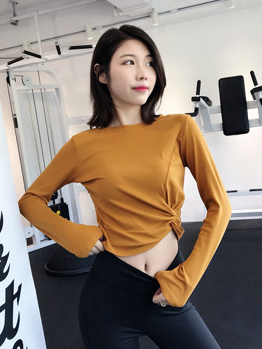 Crop Top Fitness Suit Women's Long-Sleeve Quick-Dry Athletic Clothing Winter Running T-shirt Navel-Tight Yoga Clothes Tops