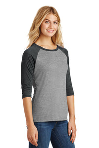 Women's Perfect Triblend 3/4-Sleeve Raglan / Black & Gray / VB Futsal
