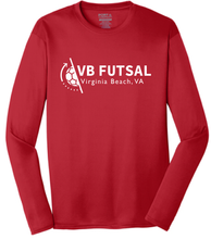 Load image into Gallery viewer, Long Sleeve Performance Tee / Red / VB Futsal