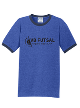 Load image into Gallery viewer, Short Sleeve Ringer T-shirt / Heather Royal & Navy / VB Futsal